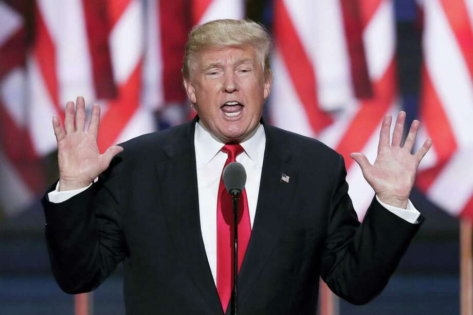Republican Presidential Candidate, Donald Trump, speaks during the final day of the Republican National Convention in Cleveland last year. Photo: J. Scott Applewhite — AP File Photo  / Copyright 2016 The Associated Press. All rights reserved. This material may not be published, broadcast, rewritten or redistribu