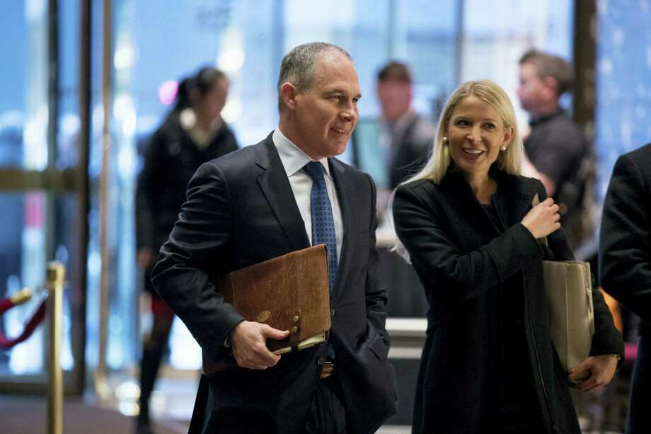 Oklahoma Attorney General Scott Pruitt arrives at Trump Tower in New York on Dec. 7, 2016. Photo: Andrew Harnik — AP Photo  / Copyright 2016 The Associated Press. All rights reserved.