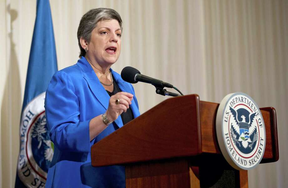 Homeland Security Secretary Janet Napolitano gives her farewell address at the National Press Club in Washington in 2013. The University of California said President Napolitano, a former U.S. Homeland Security secretary, is undergoing treatment for cancer and is hospitalized with complications. Photo: Carolyn Kaster — AP File Photo  / AP2013