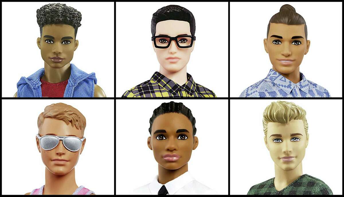 This photo combo of images provided by Mattel shows a variety of Ken dolls now available from Mattel. Mattel announced Tuesday, June 20, 2017, that the company is introducing 15 new looks for the male doll, giving him new skin tones, body shapes and hair styles. The makeover is part of the toy company's plan to make its dolls more diverse and try to appeal to today's kids, many of whom would rather pick up an iPad than a doll. Barbie received a similar overhaul more than a year earlier.