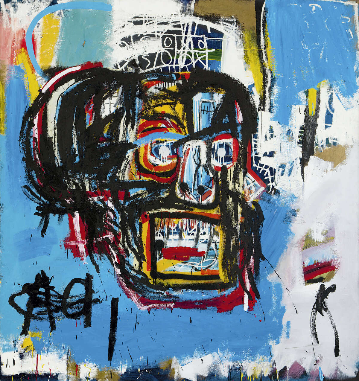"""This undated photo provided by Sotheby's shows Jean-Michel Basquiat's Masterpiece """"Untitled."""" Sotheby's said the sale of the artwork Thursday, May 18, 2017, in Manhattan was an auction record for the artist. It also set a record price for an American artist at auction. The 1982 painting depicts a face in the shape of a skull."""