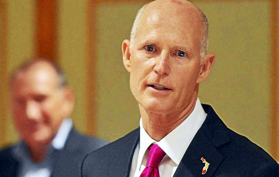 Republican Florida Gov. Rick Scott went to Norwalk on Monday to try to lure companies to move to his state. Photo: Alex Von Kleydorff / Hearst Connecticut Media