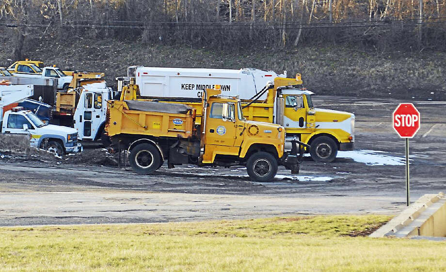 Middletown Public Works trucks at city yard will begin the annual road work this spring. Photo: Cassandra Day — The Middletown Press