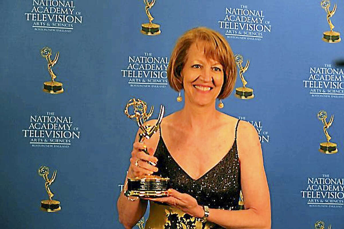 Filmmaker Karyl Evans with her Grammy award.
