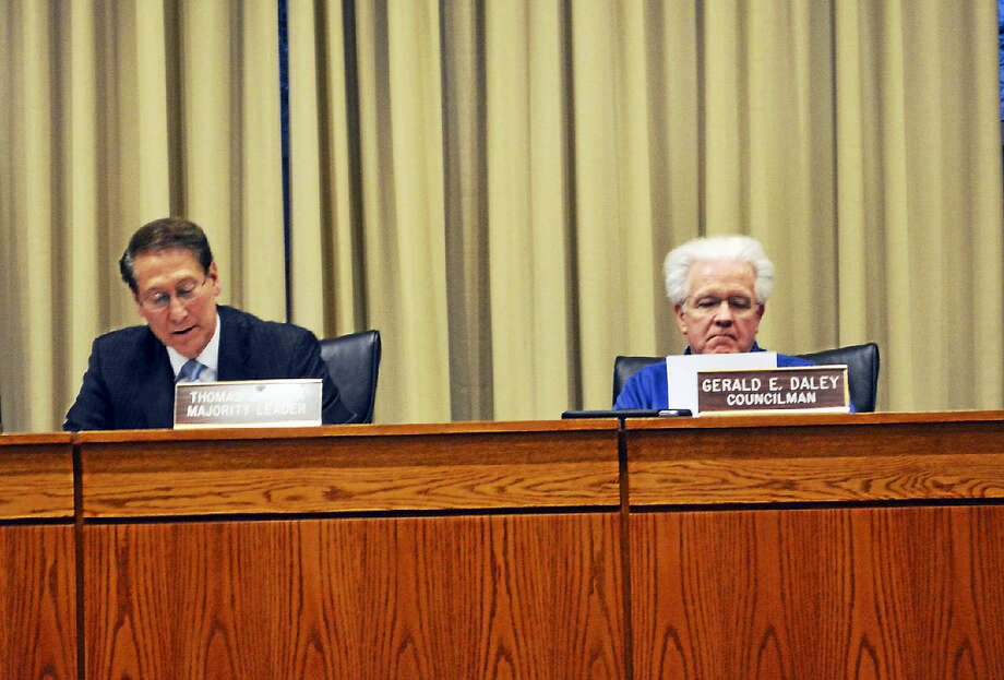 Middletown Common Council Majority Leader Thomas Serra, left, and Councilor Gerry Daley Photo: File Photo