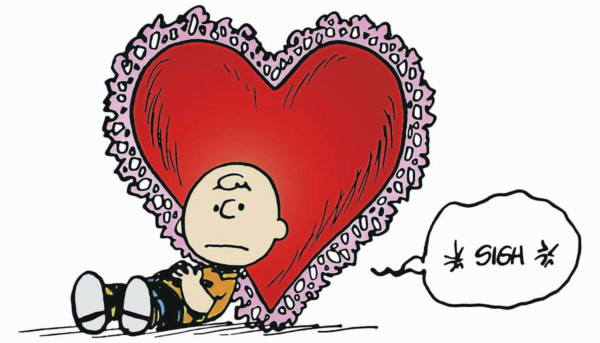 """Charlie Brown reflects on his love life in an illustration by his creator, Charles M. Schulz. """"Heartbreak in Peanuts"""" details the characters' unrequited love at the Mattatuck Museum in Waterbury, with an opening reception for the show on Sunday, May 21. The exhibit runs through Aug. 13."""