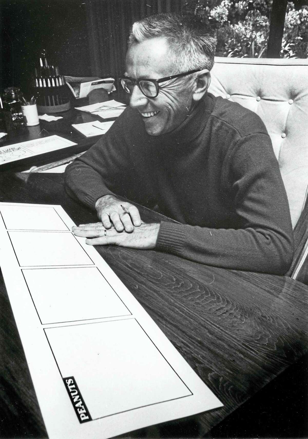 """""""Peanuts"""" creator Charles M. Schulz, whose work will be exhibited in a new show at the Mattatuck Museum in Waterbury, """"Heartbreak in Peanuts."""""""