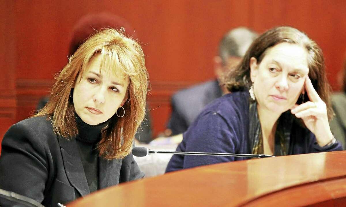 Kristina Stevens, of the Department of Children and Families, left, and DCF Commissioner Joette Katz.