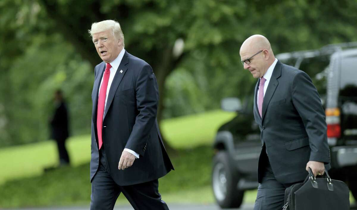President Donald Trump walks with National Security Adviser H.R. McMaster from the Oval Office to Marine One on the South Lawn of the White House in Washington, Friday, June 16, 2017, for a short trip to Andrews Air Force Base, Md., then onto Miami.