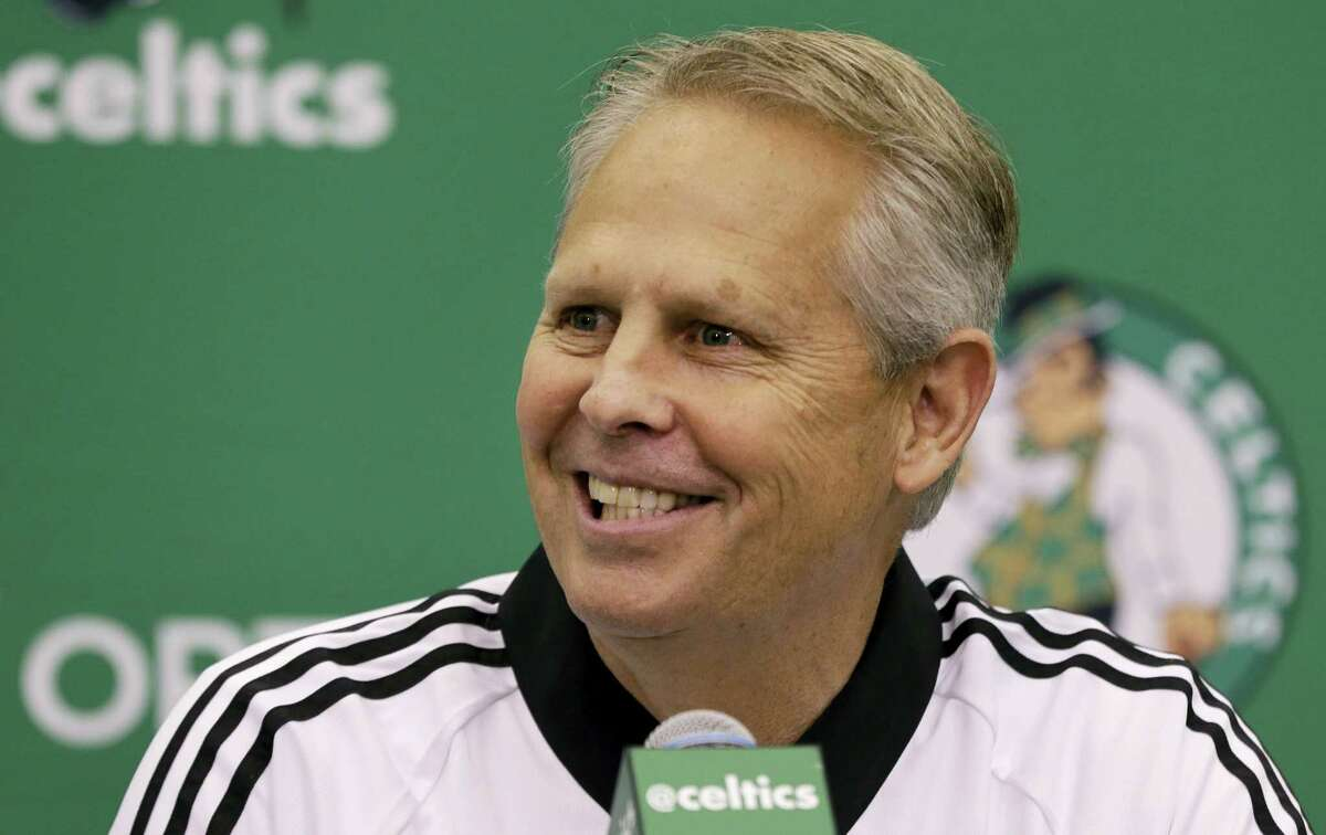 Celtics President of Basketball Operations Danny Ainge speaks during a news conference in Waltham, Mass.
