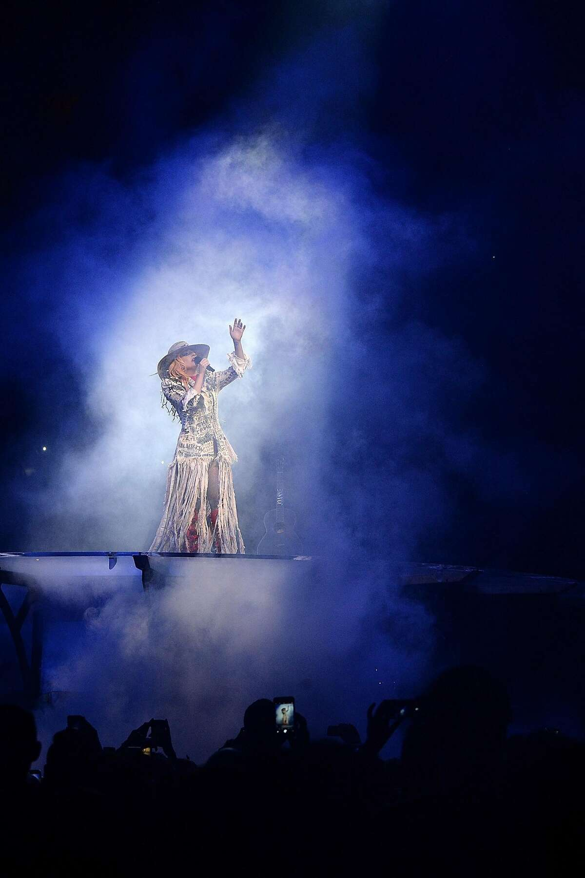"""Lady Gaga performs during her """"Joanne"""" world tour at Rogers Arena on August 1, 2017 in Vancouver, Canada."""