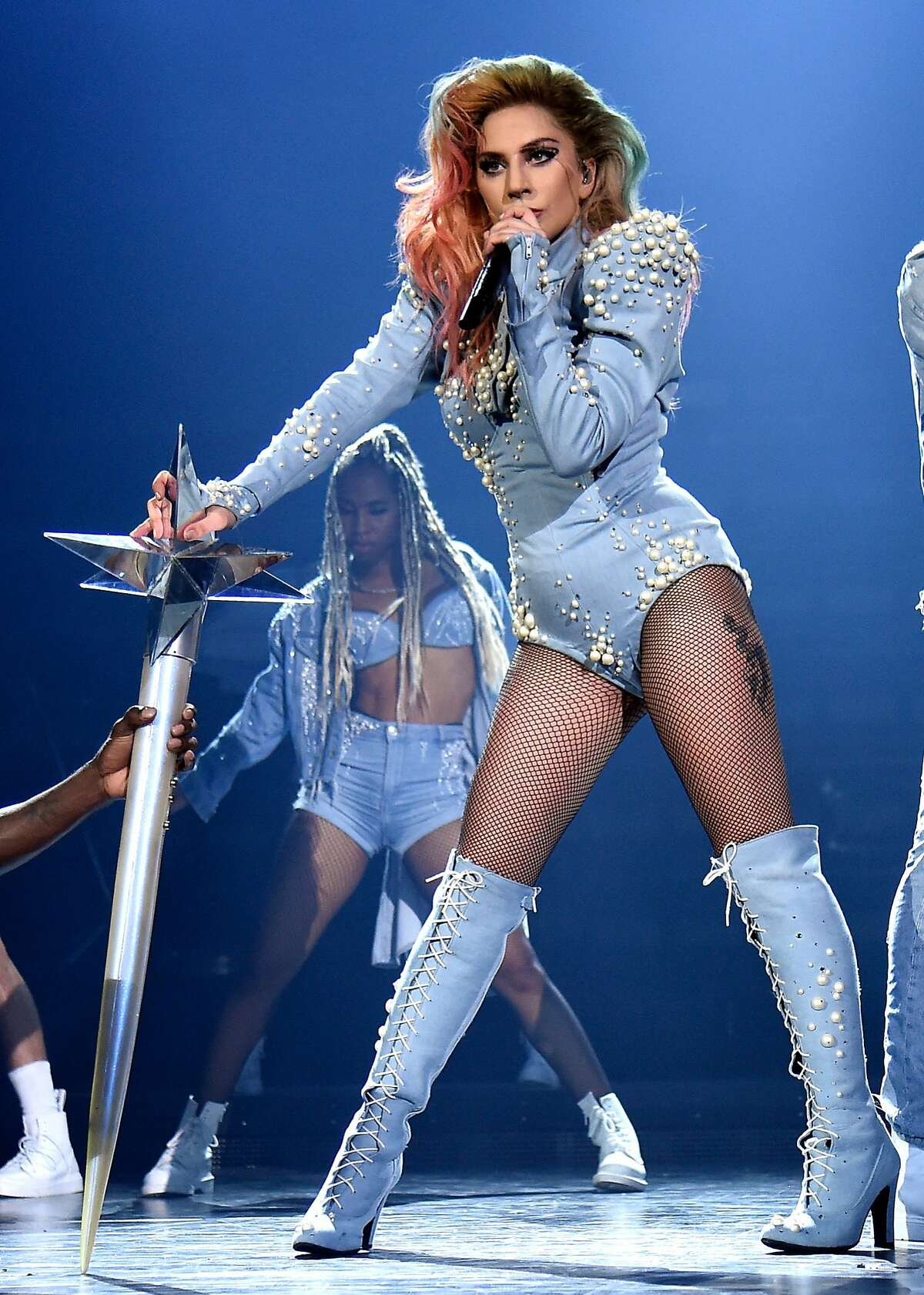 """Lady Gaga performs onstage during the """"Joanne"""" World Tour at The Forum on August 9, 2017 in Inglewood, California."""