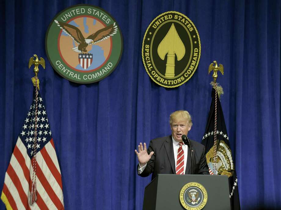 President Donald Trump speaks to troops while visiting U.S. Central Command and U.S. Special Operations Command at MacDill Air Force Base in Tampa, Fla. on Feb. 6, 2017. Photo: AP Photo/Susan Walsh  / Copyright 2017 The Associated Press. All rights reserved.
