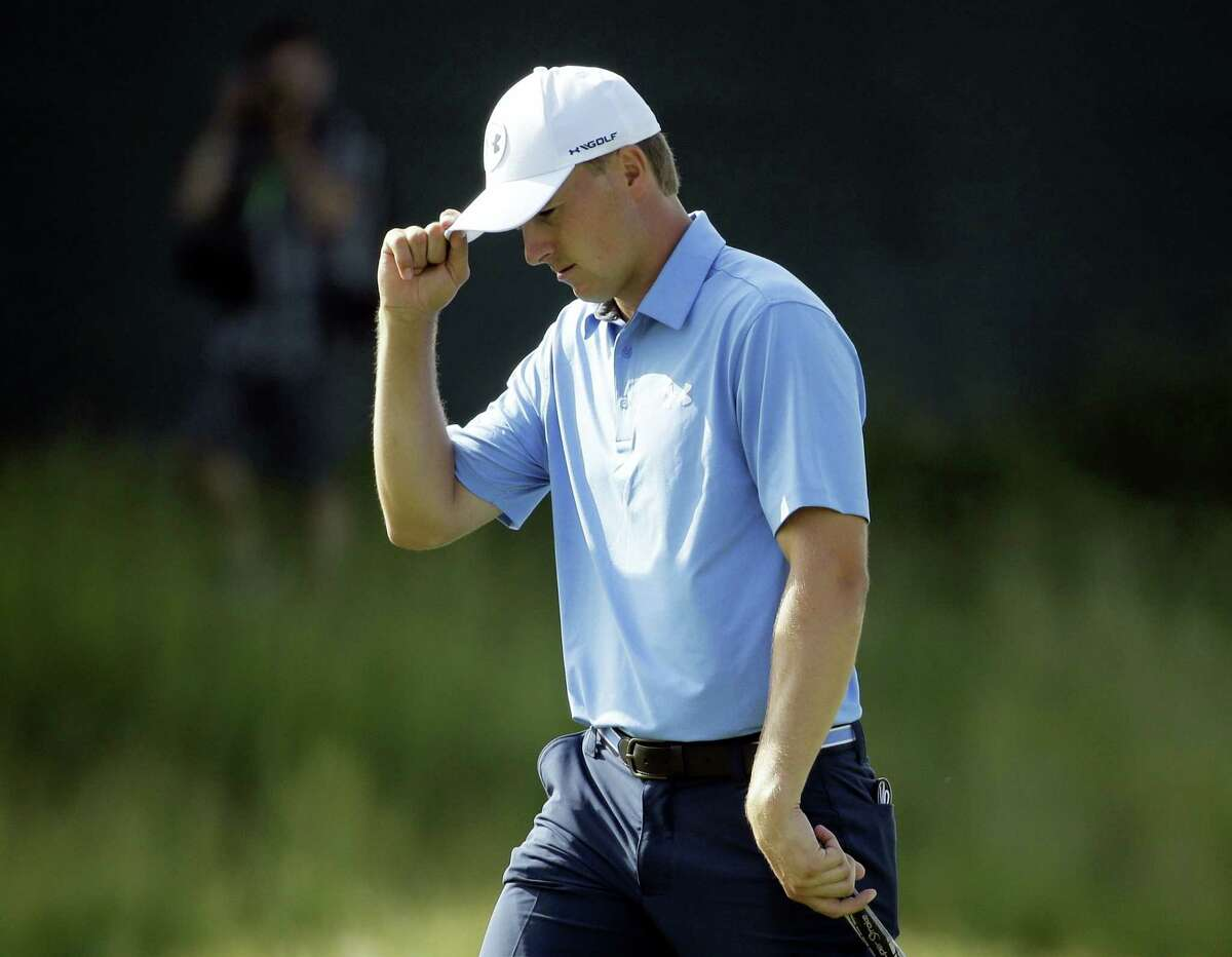 Jordan Spieth reacts on the 10th hole during the first round of the U.S. Open.