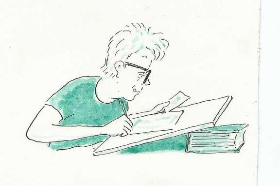 Self-portrait by cartoonist Mimi Pond