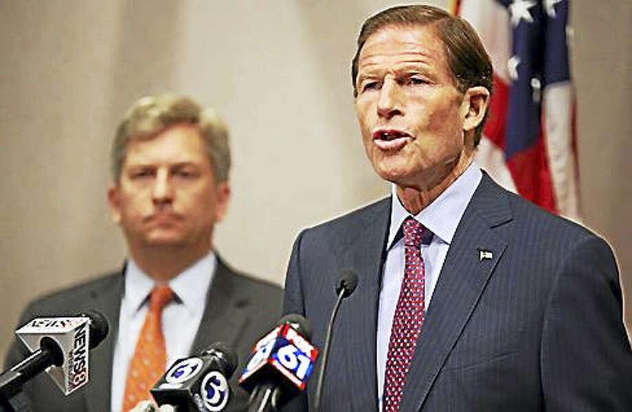 U.S. Sen. Richard Blumenthal Friday at the Legislative Office Building. Photo: Christine Stuart / CTNewsJunkie