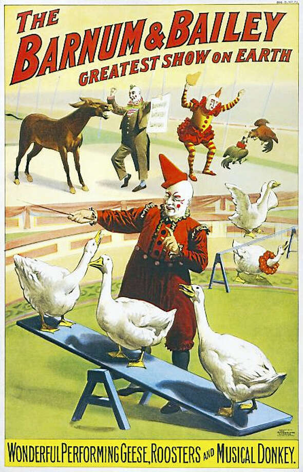 Send in the clowns...and the geese, roosters and even a musical donkey. Photo: Vintage Poster Labeled For Reuse