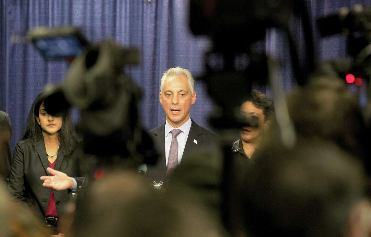 Chicago Mayor Rahm Emanuel answers questions during a news conference Friday, Jan. 13, 2017, in Chicago. The U.S. Justice Department issued a scathing report on civil rights abuses by Chicago's police department over the years. The report released Friday alleges that institutional Chicago Police Department problems have led to serious civil rights violations, including racial bias and a tendency to use excessive force.