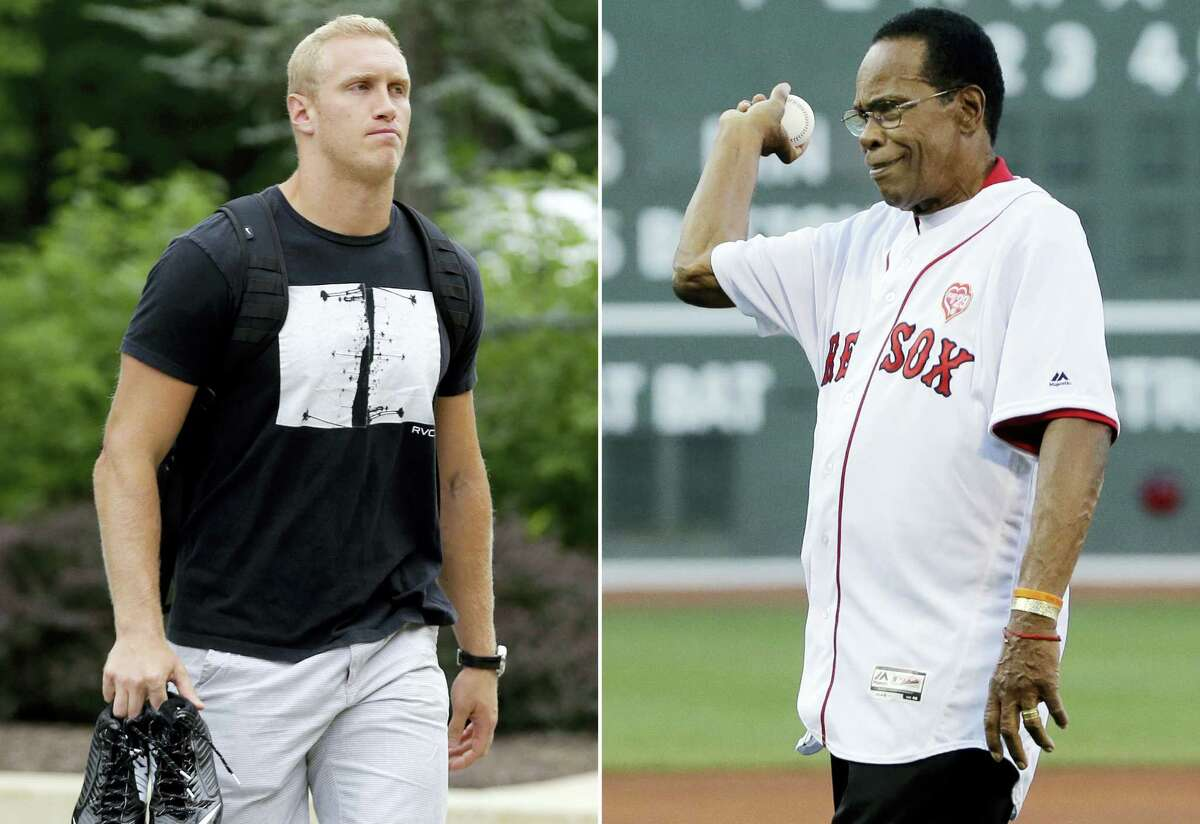 At left, in a 2015 file photo, Baltimore Ravens tight end Konrad Reuland. At right, Minnesota Twins great Rod Carew. Carew received a new heart and kidney from the late Reuland in what is believed to be the first such transplant involving pro athletes.
