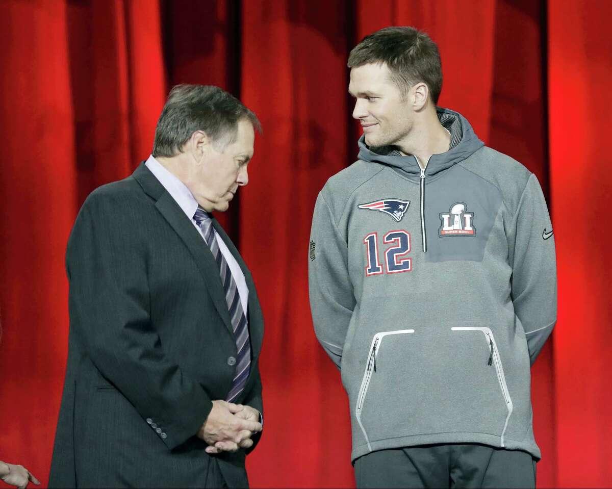 Patriots head coach Bill Belichick, left, and quarterback Tom Brady.
