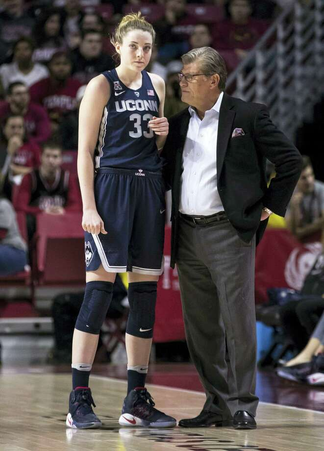 UConn's Katie Lou Samuelson, left, listens to head coach Geno Auriemma. Photo: The Associated Press File Photo  / FR170982 AP