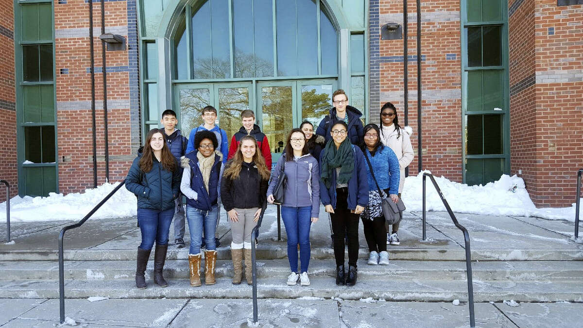 These MHS students recently competed in the statewide Chemistry Olympiad High School Division competition: Kuba Alicki, Dana Chamberlain, Iyanna Crockett, Victoria Dombrowik, Hind Fares, Justin Hong, Matthew Lecky, Kaylee Morosky, Charlene Ngige, Sarah Nguyen, Persa Shehreen and Matthew Simmons.
