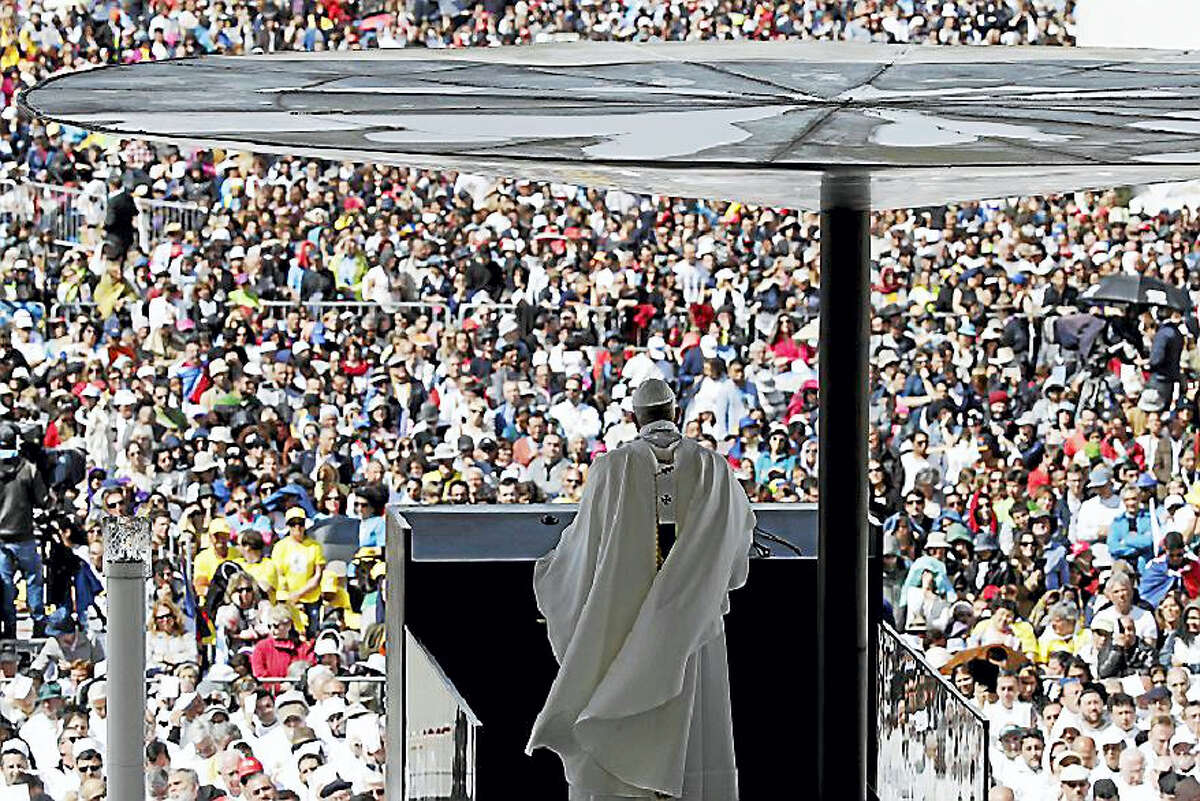 Pope Francis delivers his homily during a Mass at the Sanctuary of Our Lady of Fatima Saturday, May 13, 2017, in Fatima, Portugal. The pontiff canonized two poor, illiterate shepherd children whose visions of the Virgin Mary 100 years ago marked one of the most important events of the 20th-century Catholic Church.