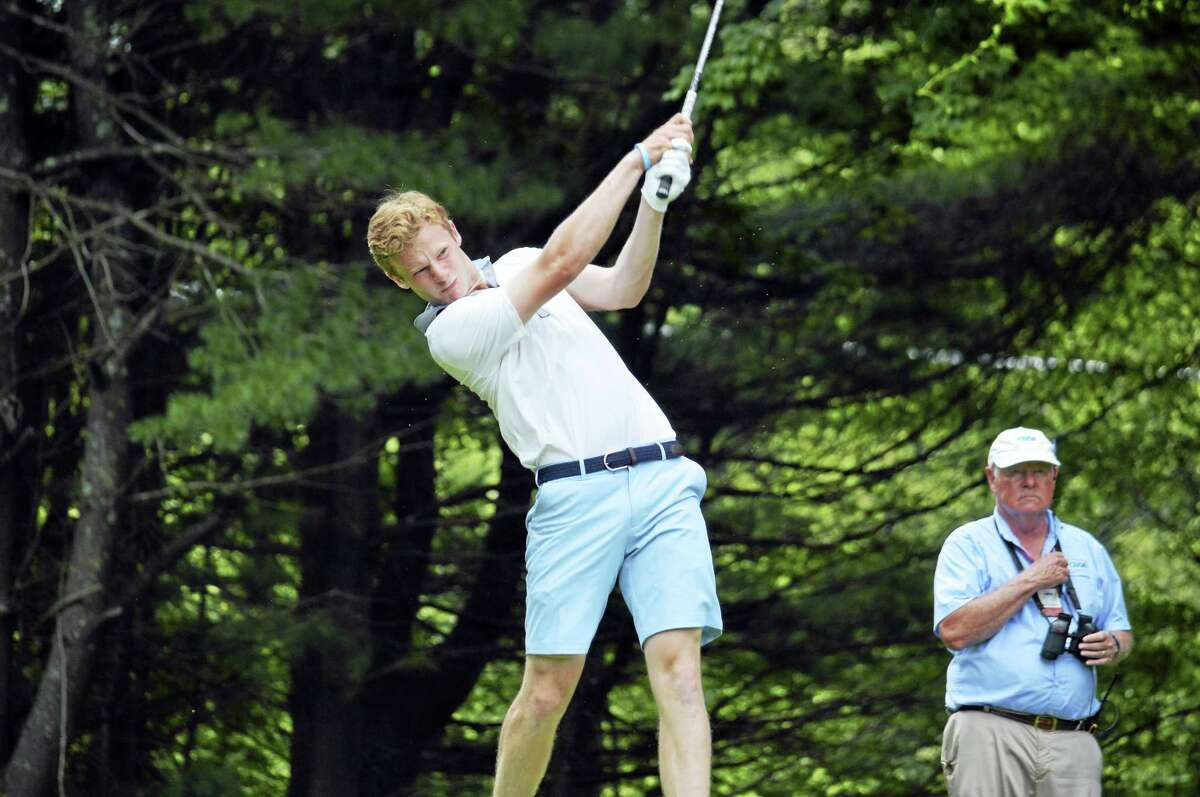 Ridgefield's Andrew Franz tees off on Day 3 of the 76th Connecticut Junior Amateur at Watertown Golf Club on Wednesday, July 12, 2017. Franz advanced to Thursday's championship match.