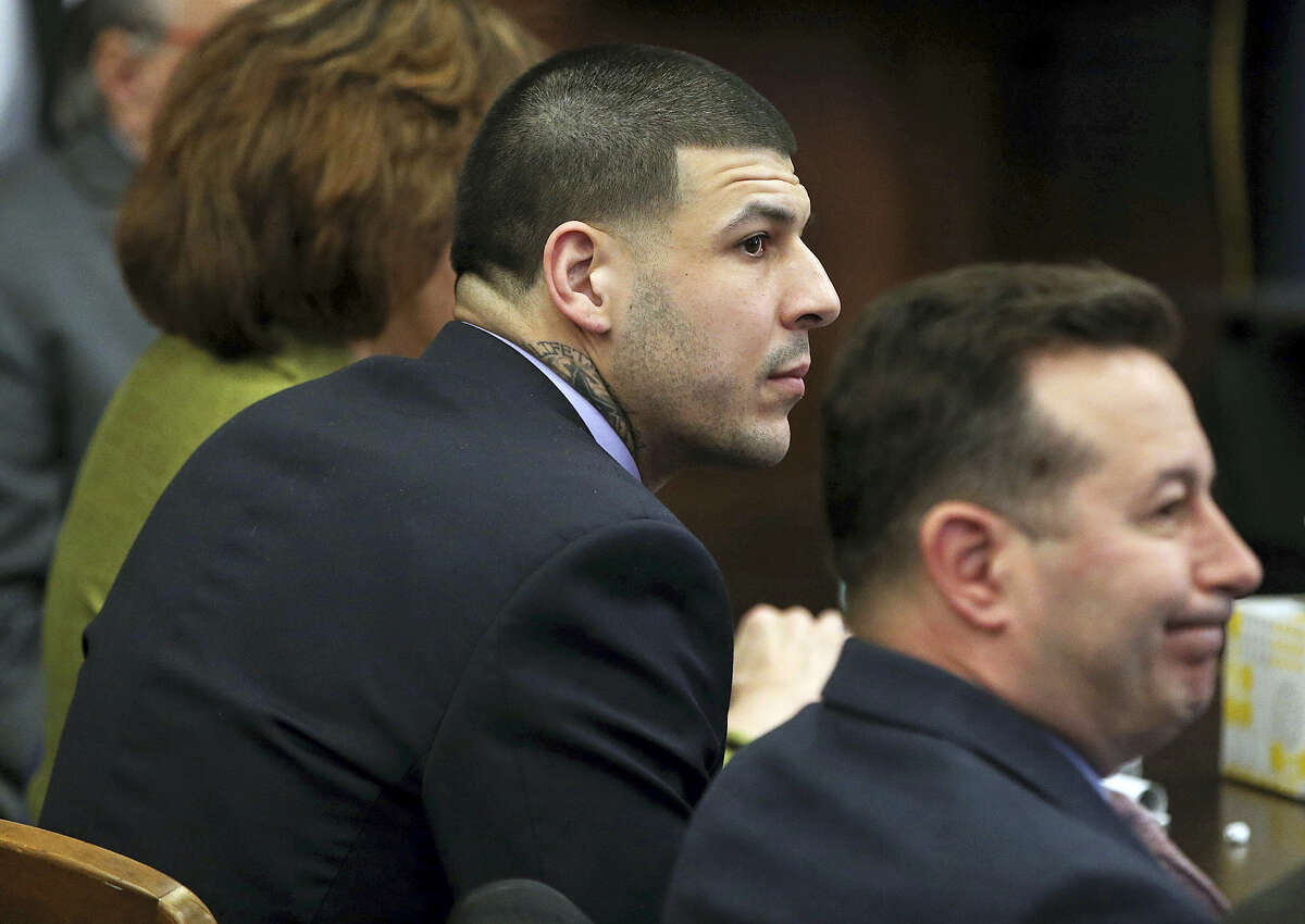 Former New England Patriots tight end Aaron Hernandez sits at the defense table during day 5 of jury deliberations on Thursday.