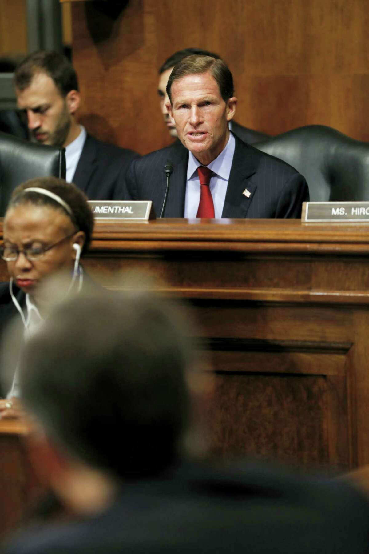 Senate Judiciary Committee member Sen. Richard Blumenthal, D-Conn. questions FBI Director nominee Christopher Wray on Capitol Hill in Washington, Wednesday, July 12, 2017, during Wray's confirmation hearing before the committee.