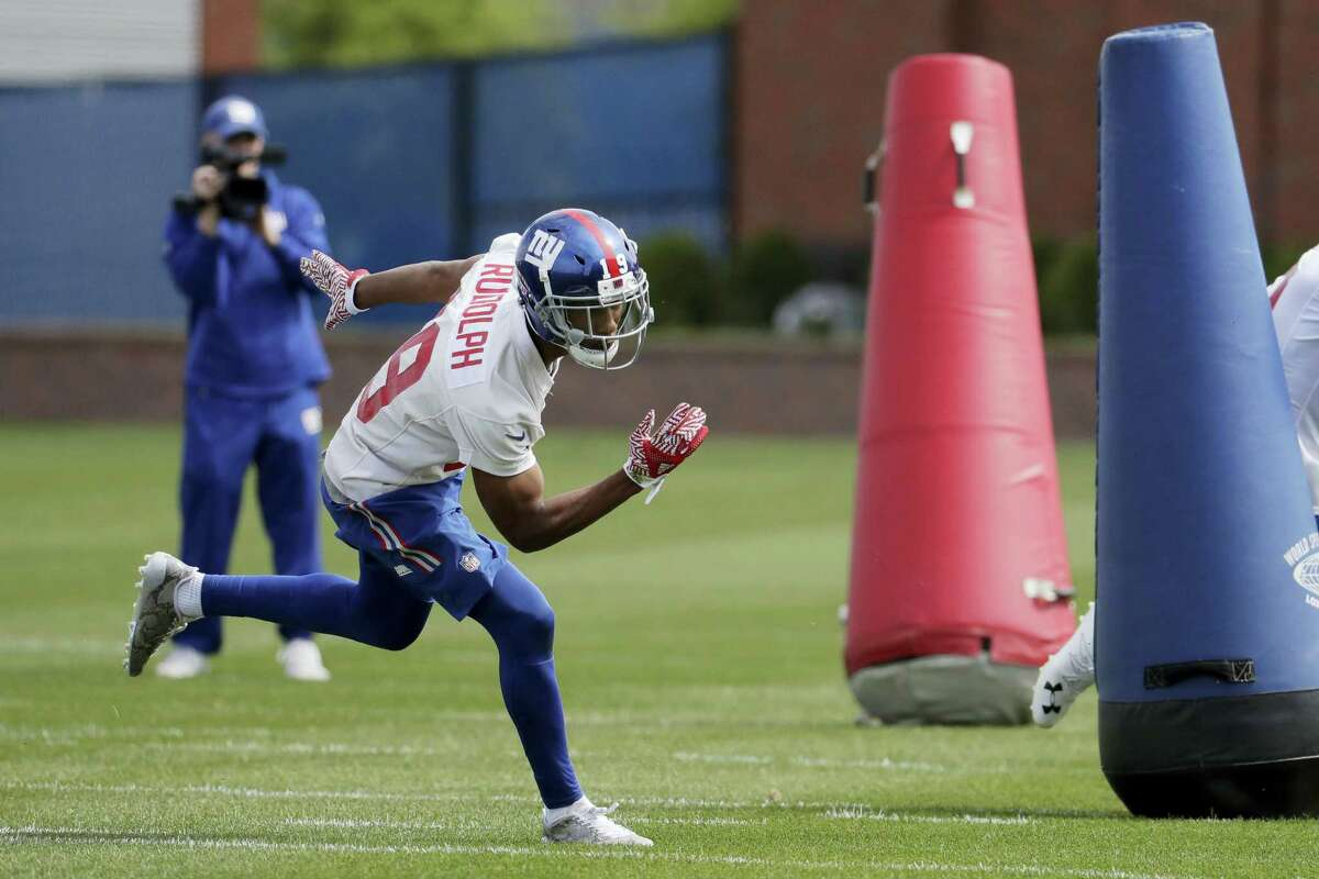 Travis Rudolph runs a drill during Giants rookie minicamp in East Rutherford, N.J.
