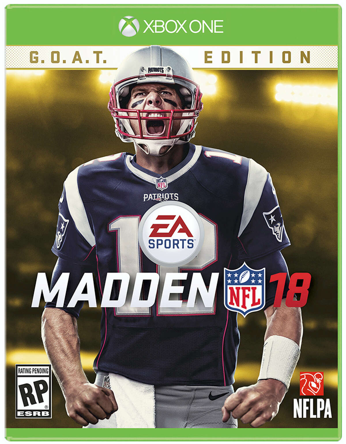 This image provided by EA Sports shows New England Patriots quarterback Tom Brady on the cover of the Madden 18 video game.