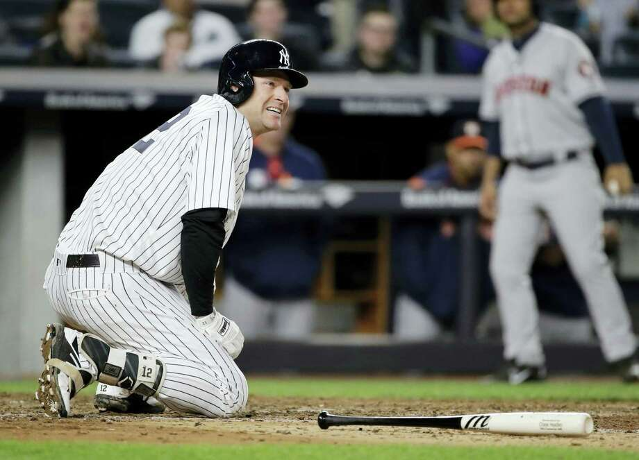 The Yankees' Chase Headley reacts after being hurt during his at bat in the seventh inning on Friday. Photo: Frank Franklin II — The Associated Press  / Copyright 2017 The Associated Press. All rights reserved.
