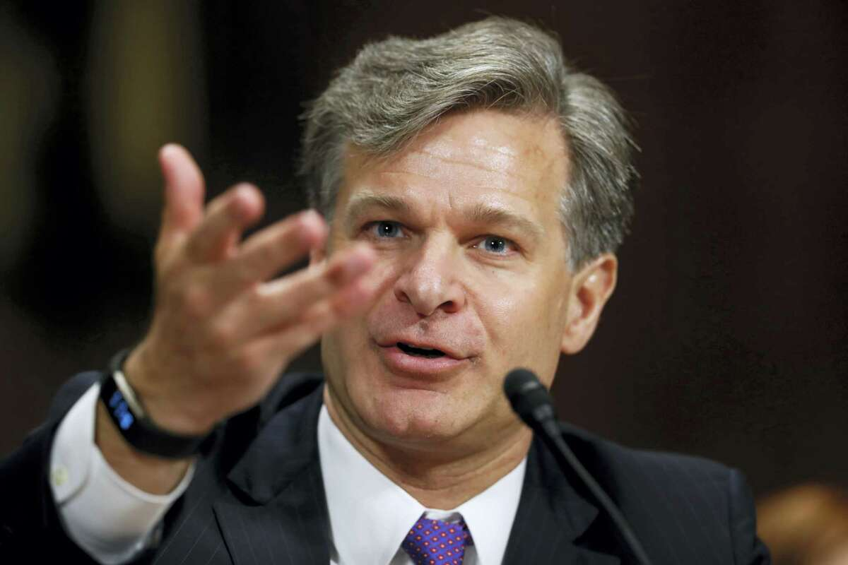 FBI Director nominee Christopher Wray testifies on Capitol Hill in Washington, Wednesday.