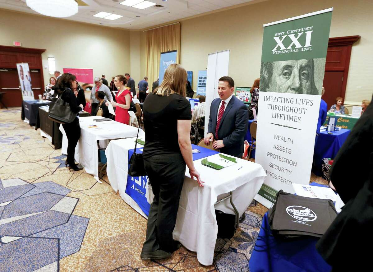 Recruitment tables at a job fair in Pittsburgh in 2016. On Thursday, Feb. 2, 2017, the Labor Department reports on the number of people who applied for unemployment benefits the week before.