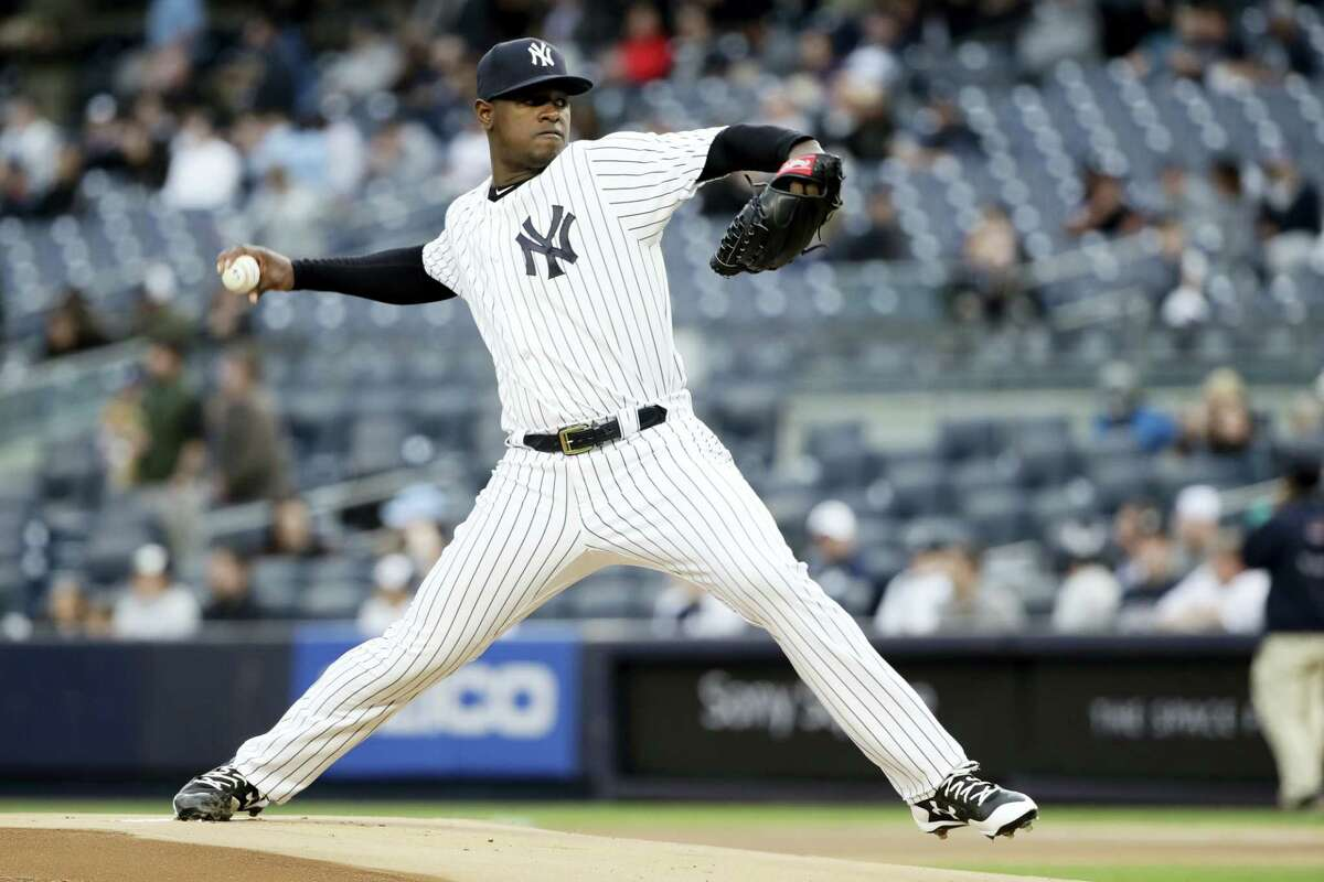 New York Yankees' pitcher Luis Severino delivers a pitch during the first inning of a baseball game Thursday in New York.