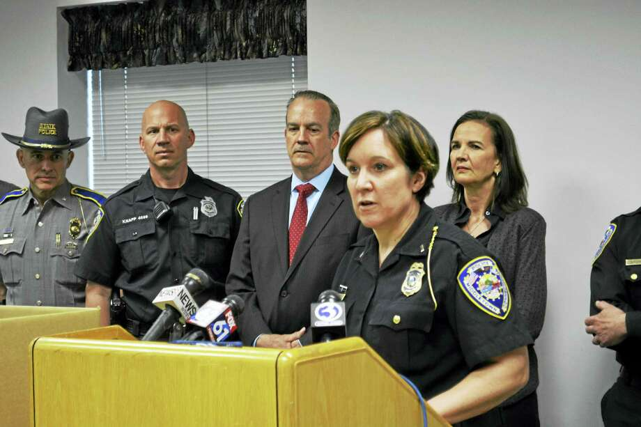 Middletown Police Lt. Heather Desmond speaks last month during a press conference at headquarters about the opioid abuse epidemic in Connecticut. Photo: Cassandra Day — The Middletown Press