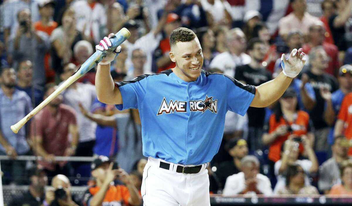 The Yankees' Aaron Judge smiles after his last at bat at the Home Run Derby on Monday in Miami.