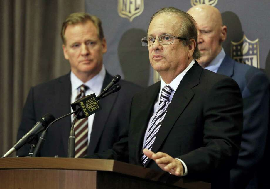 In this Jan. 12, 2016 photo, NFL Commissioner Roger Goodell, left, listens as San Diego Chargers owner Dean Spanos talks to the media during a press conference in Houston. The Chargers are moving to Los Angeles, where they will join the recently relocated Rams in giving the nation's second-largest media market two NFL teams for the first time in decades. The announcement was made Thursday, Jan. 12, 2017. Photo: AP Photo/Pat Sullivan, File  / Copyright 2016 The Associated Press. All rights reserved. This material may not be published, broadcast, rewritten or redistribu