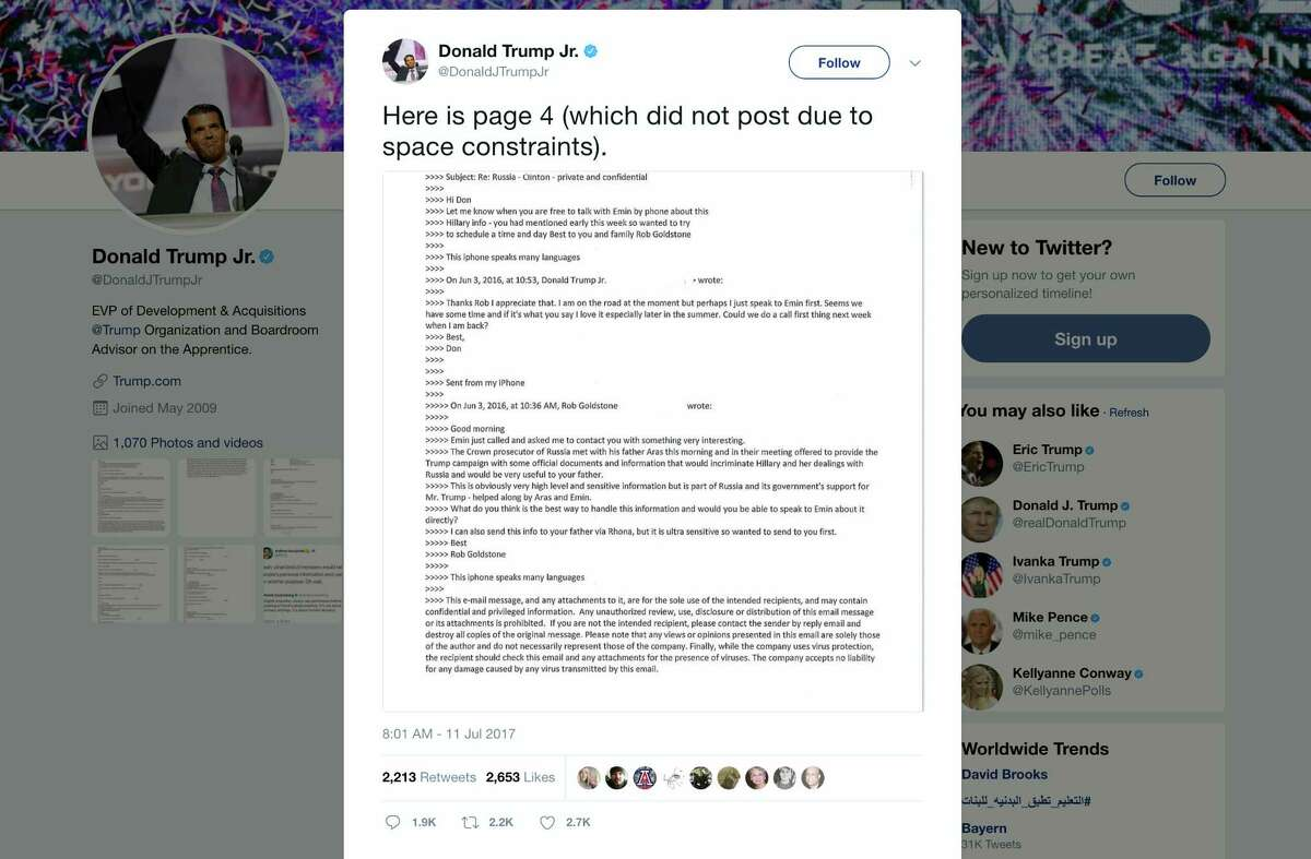 """This screenshot shows a tweet posted Tuesday by Donald Trump Jr. on his Twitter account, in which he reveals an email chain with publicist Rob Goldstone in June 2016. In the email, he discusses plans to hear damaging information on Hillary Clinton that were described as """"part of Russia and its government's support for Mr. Trump."""""""
