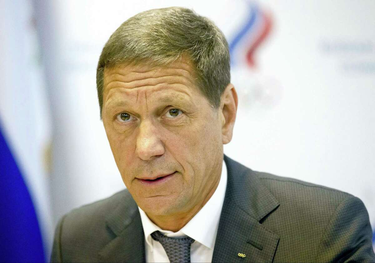 """In this July 20, 2016 photo, Russian Olympic Committee president Alexander Zhukov opens the meeting of Russia's Olympic Committee in Moscow, Russia. Russian officials say none of their athletes have returned Olympic medals after retests of their samples revealed they had doped. Russian Olympic Committee president Alexander Zhukov says his organization, which would usually handle medal transfers, hasn't received any, calling it """"not an easy process."""""""