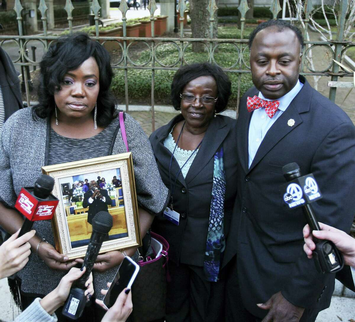 Family of the late Daniel Simmons Sr., Rose Simmons, left, daughter, former wife Annie Simmons and son Daniel L.Simmons,Jr. speak to the media after the death sentence hearing for Dylann Roof on Jan. 11, 2017 in Charleston, S.C.