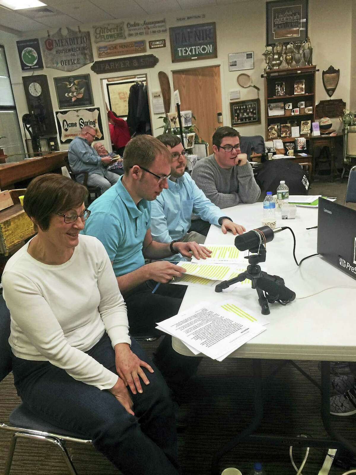 From left are Andrea Kulak, Joe Guerrera, Ryan Paolino, Jacob Carey and Henry Arneth in background, producing a podcast with letters writted by Connecticut soldiers during World War I.