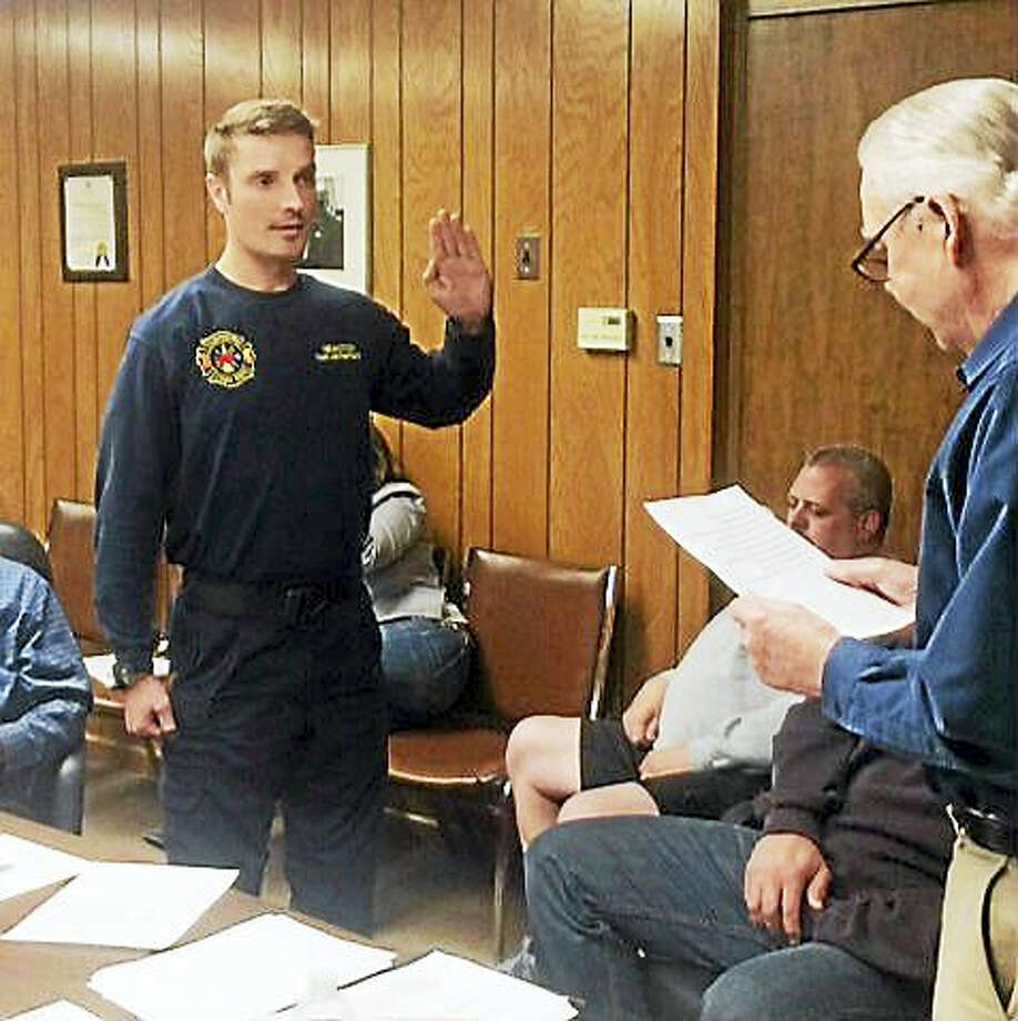 Westfield Fire District firefighter Scott Kotowski was sworn in as the new deputy fire marshal earlier this week in Middletown. Photo: Courtesy Westfield Fire