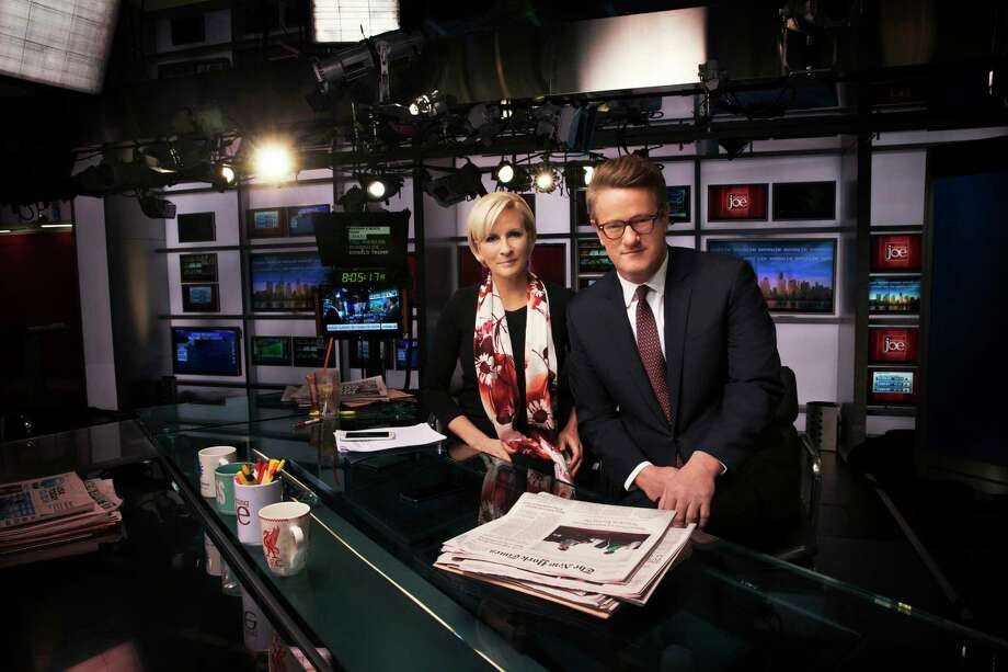 "Mika Brzezinski and Joe Scarborough on the set of MSNBC's ""Morning Joe"" — a longtime obsession of cable-news fan Donald Trump, who has said that he derives much of his policy wisdom ""from the shows."" Photo: Jesse Dittmar / The Washington Post  / Jesse Dittmar"