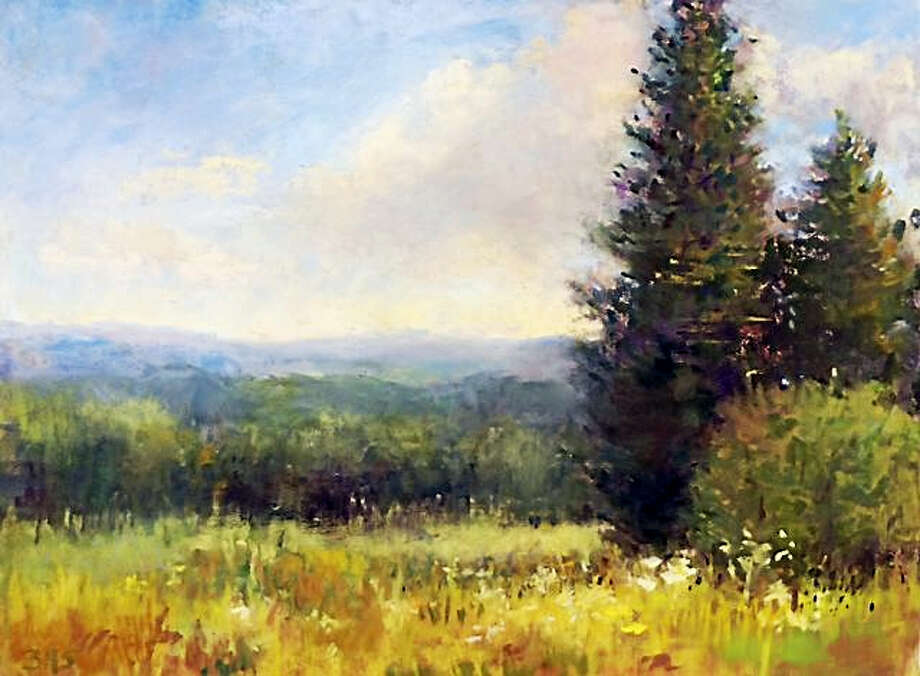 Paintings by Westbrook artist Beverly Schirmeier are on display at the Guilford Town Hall. Photo: Contributed Photos