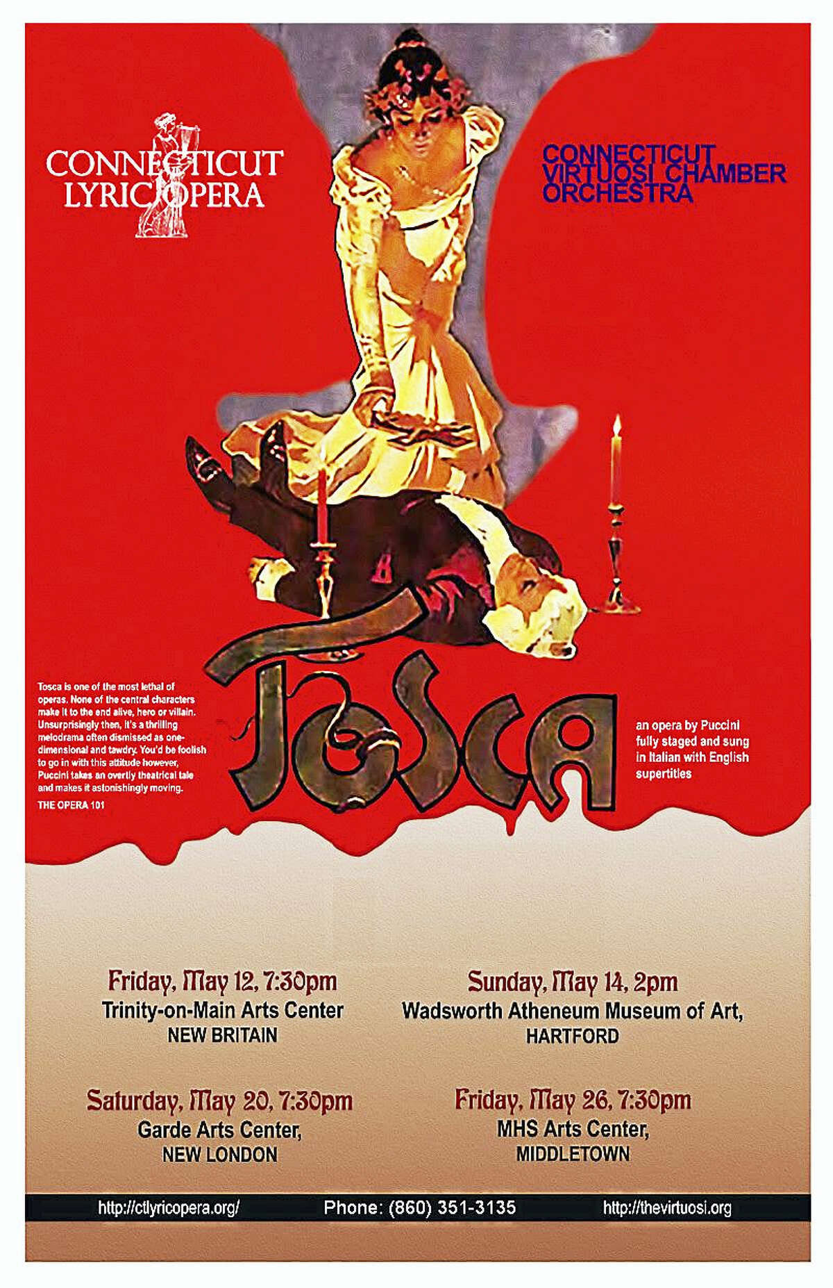 "Contributed photo The Connecticut Lyric Opera with the Connecticut Virtuosi Chamber Orchestra will present the ever-popular Italian opera ""Tosca"" in Middletown on May 26."