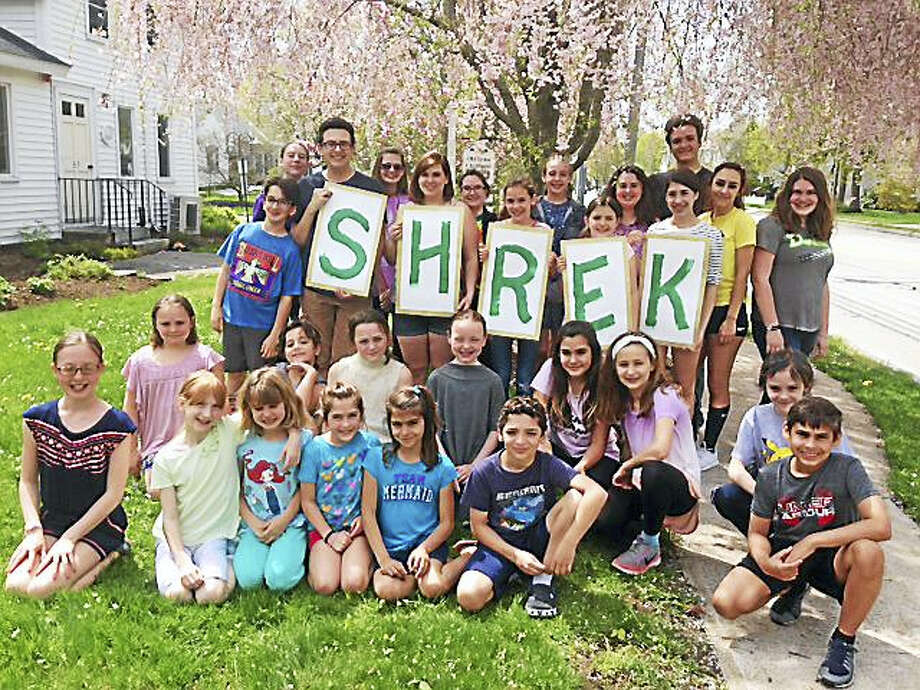 "The cast of ""Shrek the Musical"" at Madhatters Theatre Company in Chester takes a break during rehearsal. Photo: Contributed Photo"