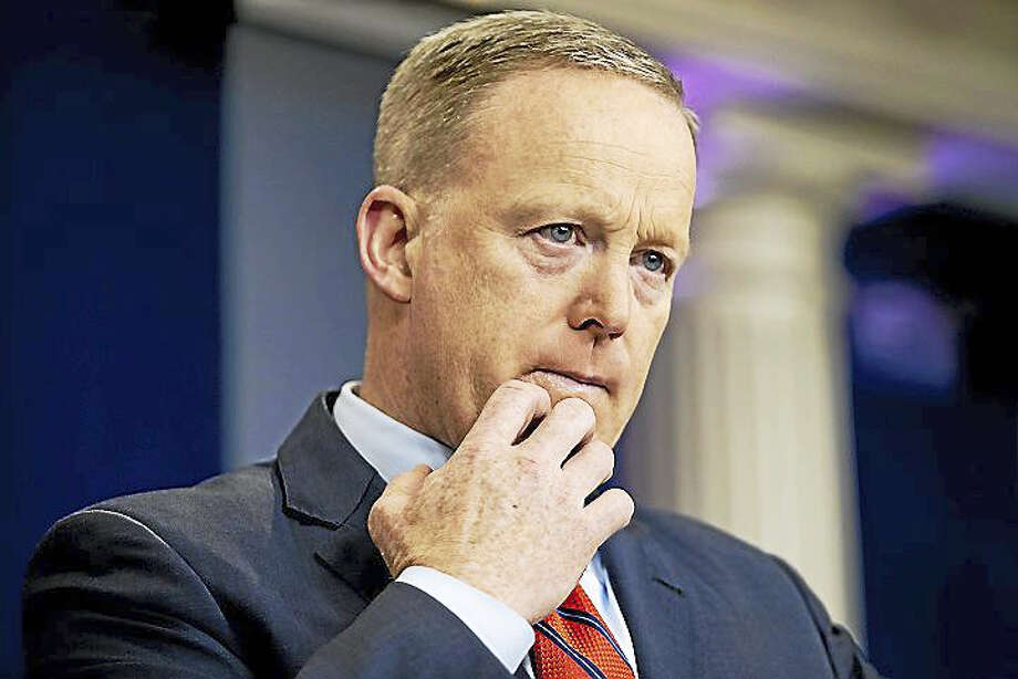 White House press secretary Sean Spicer pauses while talking to the media during the daily press briefing at the White House in Washington, Tuesday, April 11, 2017. Spicer discussed Syria, Trump's 2016 tax returns, the Easter Egg Roll and other topics. Photo: AP Photo/Andrew Harnik