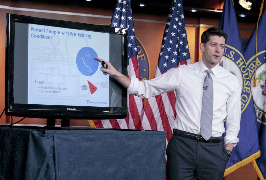 House Speaker Paul Ryan of Wis. uses charts and graphs to make his case for the GOP's long-awaited plan to repeal and replace the Affordable Care Act during a news conference on Capitol Hill in Washington. Photo: J. Scott Applewhite — The Associated Press   / AP